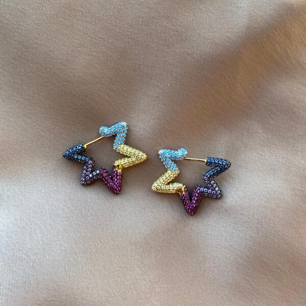 - 0.8 Renkli Taşlı Yıldız Küpe | 925 Gümüş