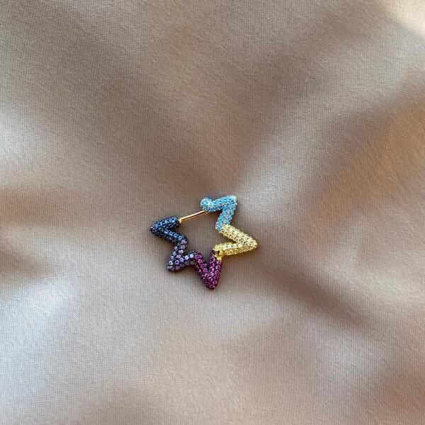 - 0.8 Tekli Renkli Taşlı Yıldız Küpe | 925 Gümüş
