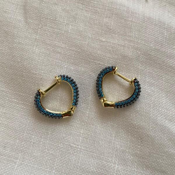 Fi Season - 1.1 Mavi Taşlı Minik Kalp Küpe   925 Gümüş