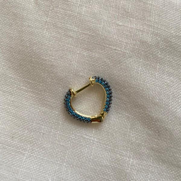 Fi Season - 1.1 Tekli Mavi Taşlı Minik Kalp Küpe   925 Gümüş