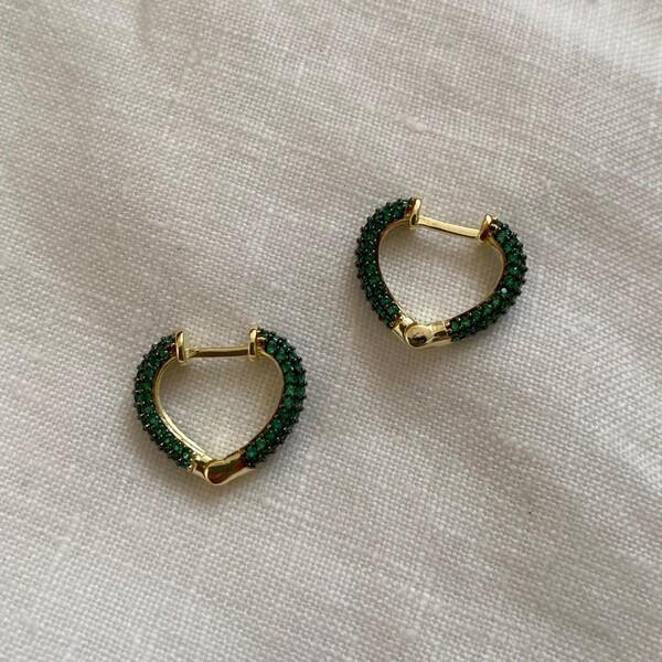 Fi Season - 1.1 Yeşil Taşlı Minik Kalp Küpe | 925 Gümüş