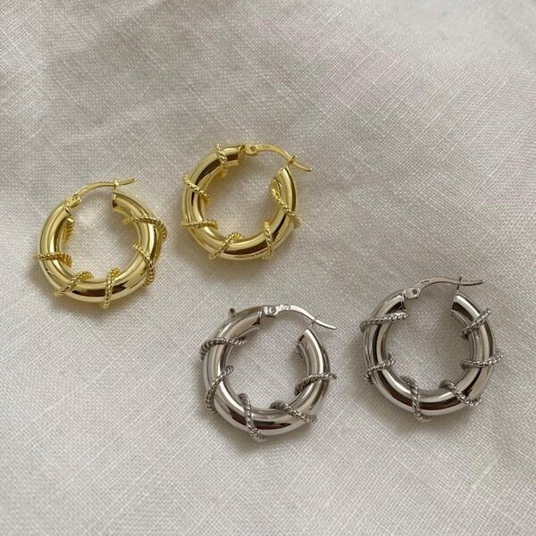 - 1.5 Zincirli Kalın Halka Küpe | 925 Gümüş