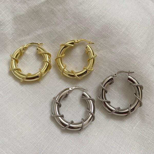 - 2.0 Zincirli Kalın Halka Küpe | 925 Gümüş