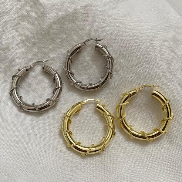 - 2.5 Zincirli Kalın Halka Küpe | 925 Gümüş