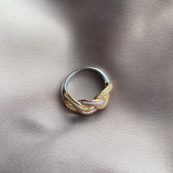 - 3 Zincirli Renkli Taşlı Yüzük   925 Gümüş
