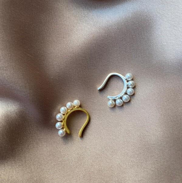 Fi Season - 6 İncili Ear Cuff   925 Gümüş