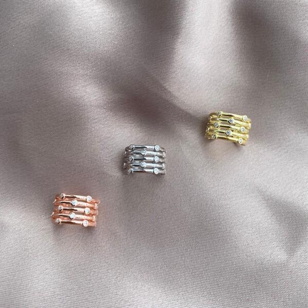Fi Season - 8 Taşlı Halka Ear Cuff   925 Gümüş