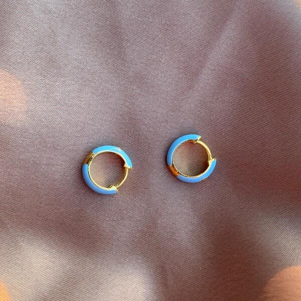 - Açık Mavi Mineli Halka Küpe | 925 Gümüş