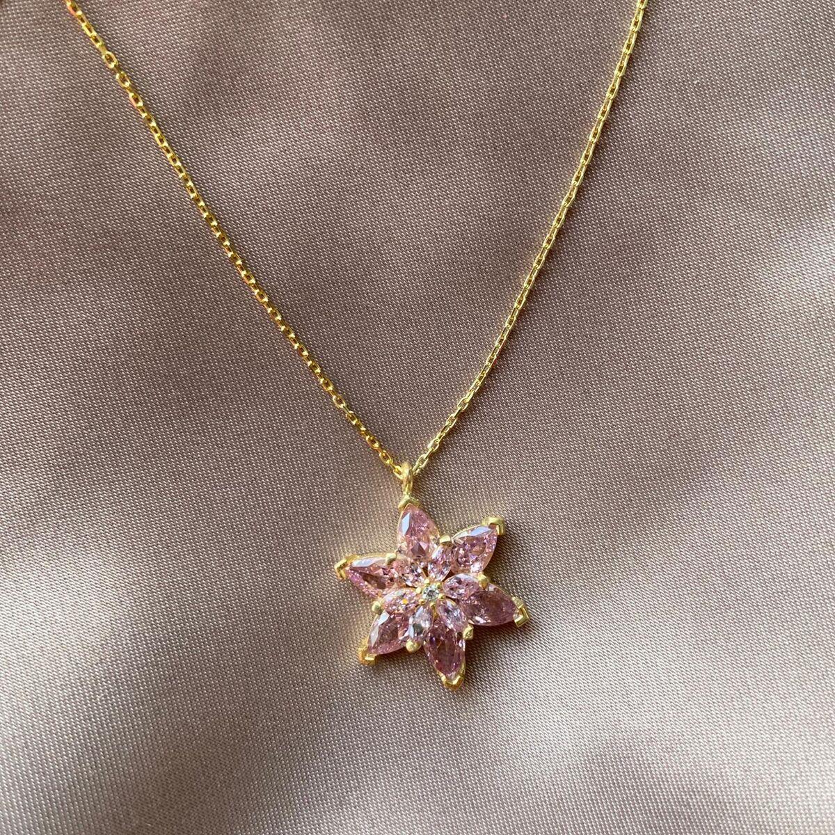 Açık Pembe Taşlı Çiçek Kolye | 925 Gümüş