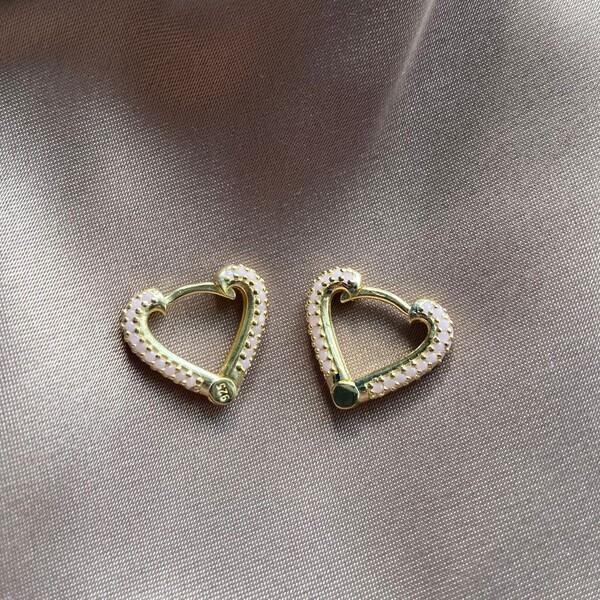 Fi Season - Açık Pembe Taşlı Kalp Küpe | 925 Gümüş