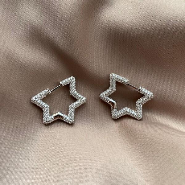 - B Beyaz Taşlı Yıldız Küpe | 925 Gümüş