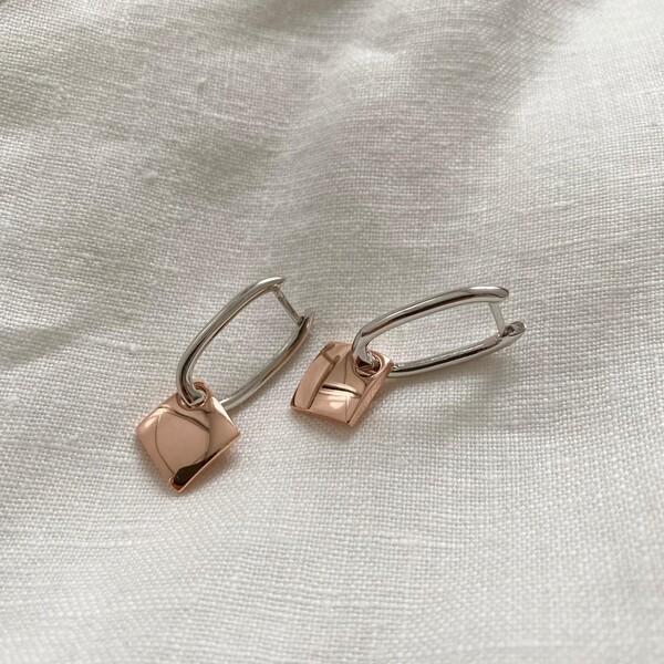 - B Kare Figürlü Oval Dikdörtgen Küpe 2 | 925 Gümüş