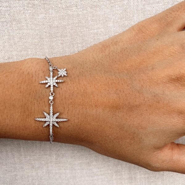 - B Taşlı Kutup Yıldızı Bileklik   925 Gümüş