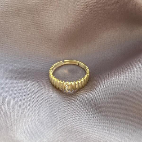 - Badem Taşlı Çoklu Yüzük   925 Gümüş