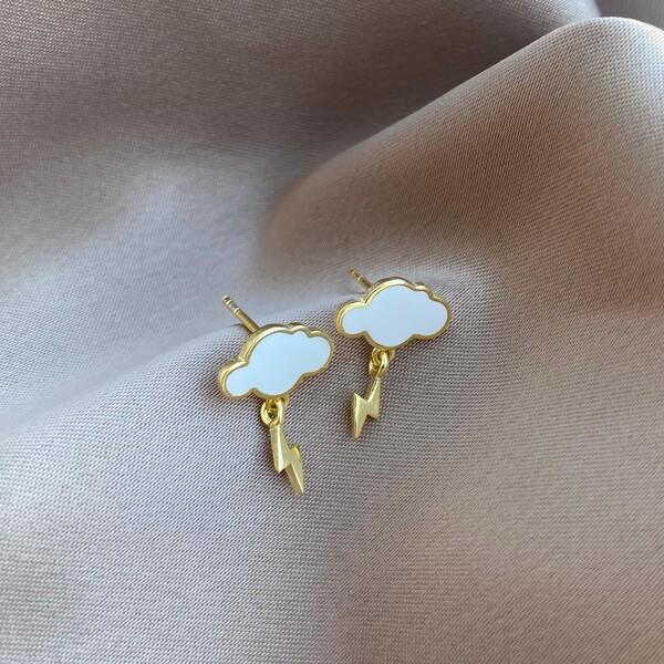 - Beyaz Bulutlu Şimşek Küpe | 925 Gümüş