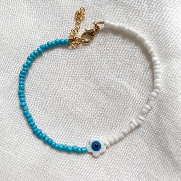Fi Season - Beyaz Çiçekli Mavi Boncuk Halhal