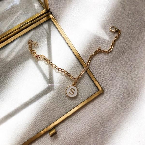Beyaz Mineli Harf Bileklik - Thumbnail