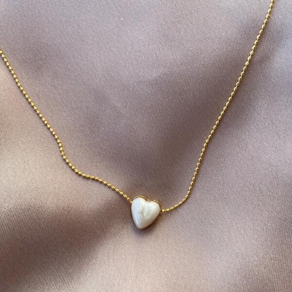 Fi Season - Beyaz Mineli Kalp Kolye