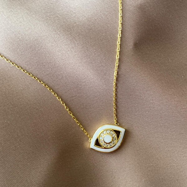 Fi Season - Beyaz Mineli Taşlı Göz Kolye | 925 Gümüş