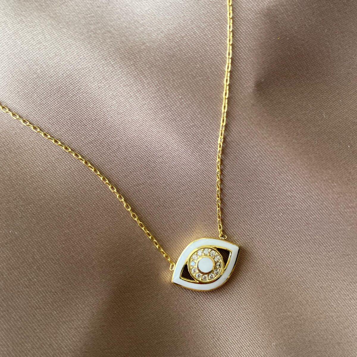 Beyaz Mineli Taşlı Göz Kolye | 925 Gümüş