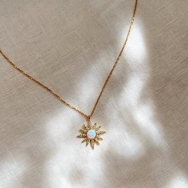 Beyaz Opal Taşlı Güneş Kolye | 925 Gümüş - Thumbnail