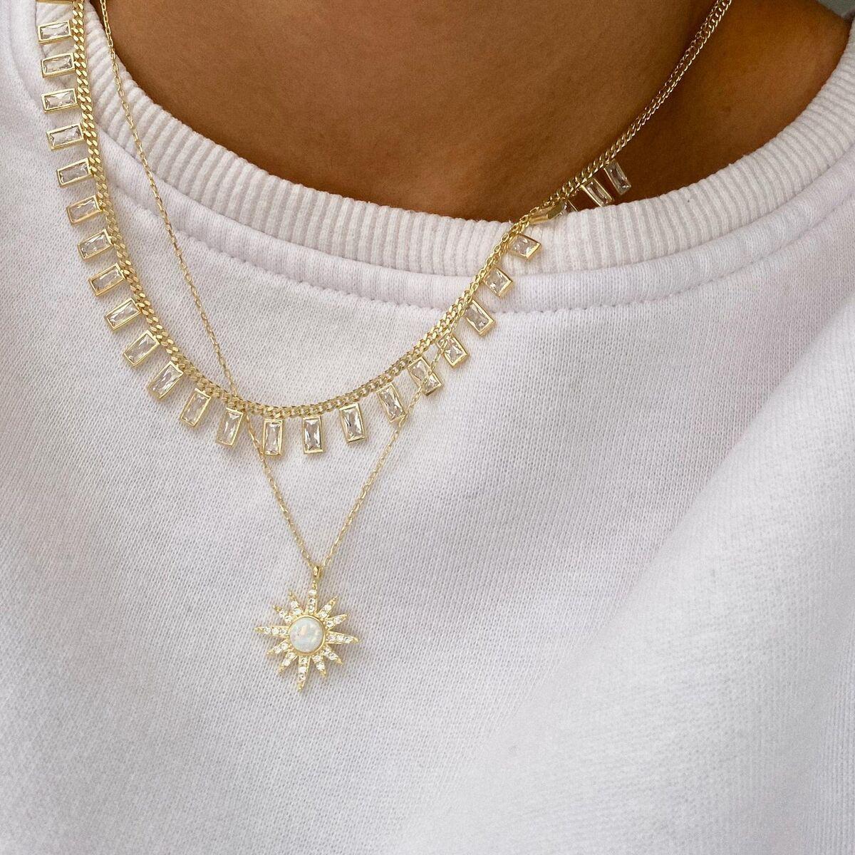 Beyaz Opal Taşlı Güneş Kolye | 925 Gümüş