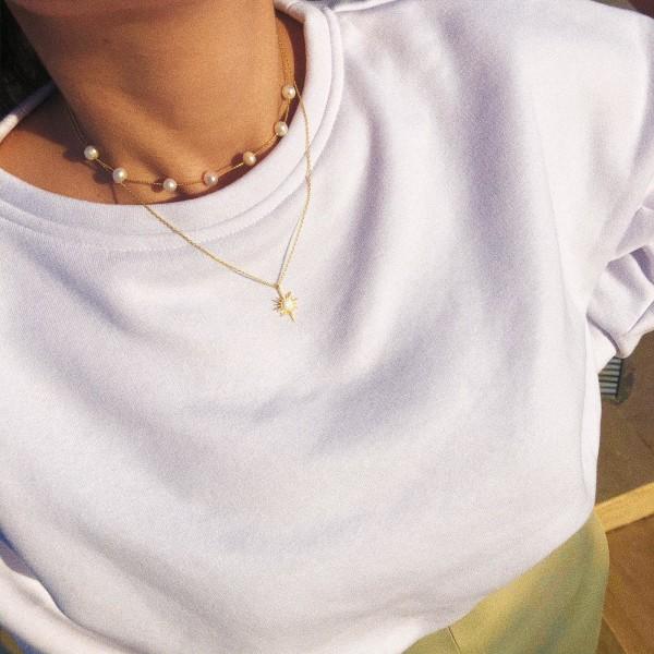 - Beyaz Opal Taşlı Güneş Kolye   925 Gümüş