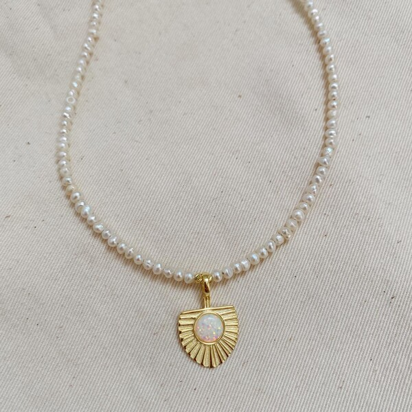 Fi Season - Beyaz Opal Taşlı İnci Kolye   925 Gümüş