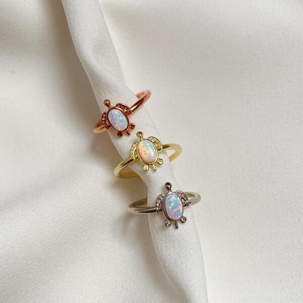 - Beyaz Opal Taşlı Kaplumbağa Yüzük | 925 Gümüş