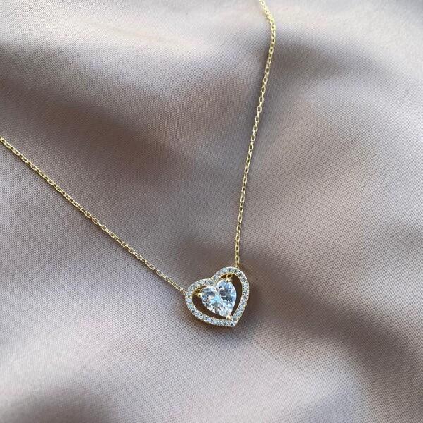 - Beyaz Taşlı Çift Uçlu Kalp Kolye | 925 Gümüş