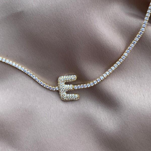 Fi Season - Beyaz Taşlı Harfli Su Yolu Choker   925 Gümüş