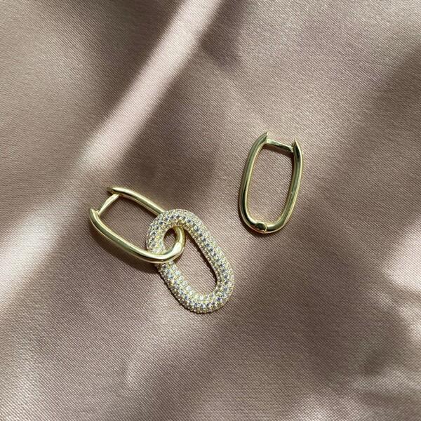 - Beyaz Taşlı İkili Dikdörtgen Küpe | 925 Gümüş