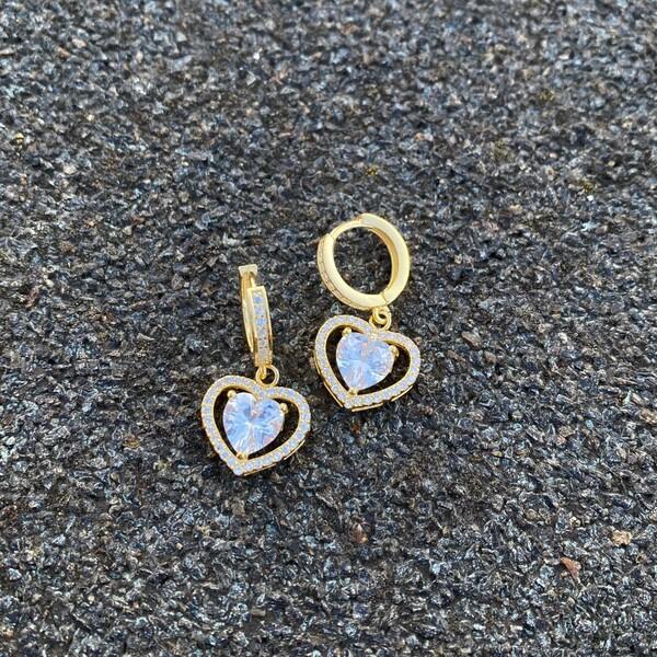 - Beyaz Taşlı Kalp Küpe | 925 Gümüş