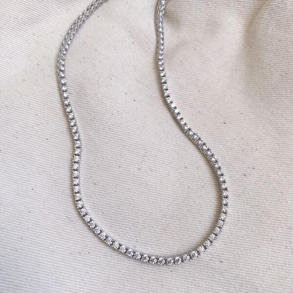 Fi Season - Beyaz Taşlı Su Yolu Choker | 925 Gümüş