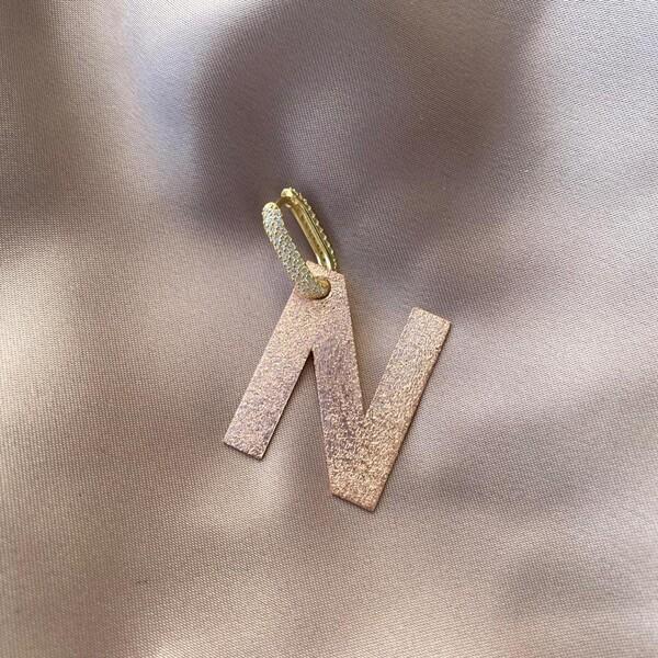 - Tekli Büyük Harf Küpe | 925 Gümüş