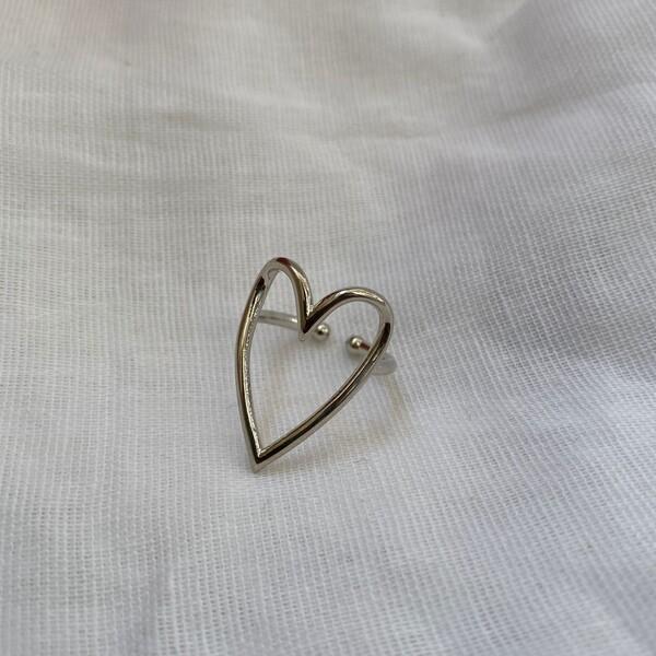 Büyük İçi Açık Kalp Yüzük - Thumbnail