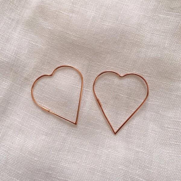 - Büyük İnce Kalp Küpe | 925 Gümüş