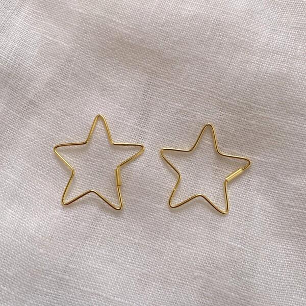 Fi Season - Büyük İnce Yıldız Küpe   925 Gümüş