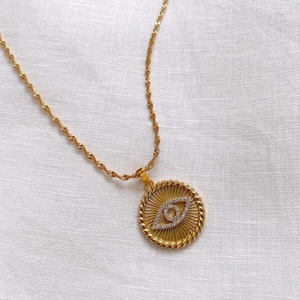 - Çizgili Göz Figürlü Madalyon Kolye