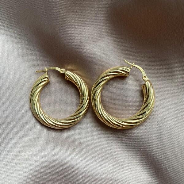 Fi Season - Çizgili Kalın Halka Küpe   925 Gümüş