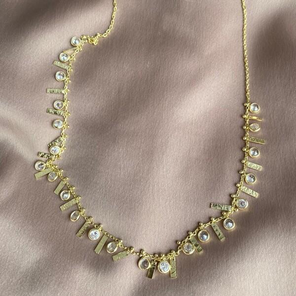 - Çubuklu Taşlı Choker | 925 Gümüş