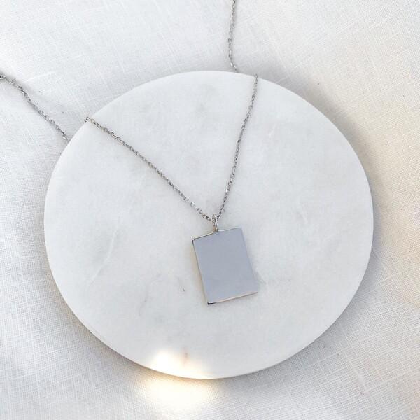 Dikdörtgen Plaka Kolye   925 Gümüş - Thumbnail