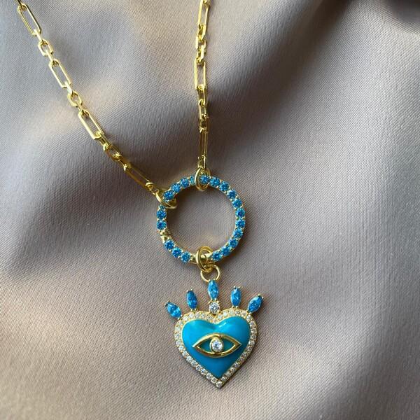 Fi Season - Dikdörtgen Zincirli Mavi Mineli Taşlı Kalp Kolye | 925 Gümüş