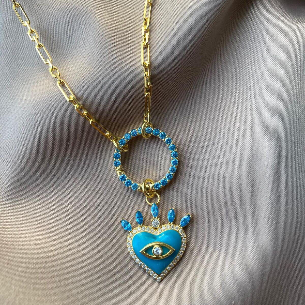 Dikdörtgen Zincirli Mavi Mineli Taşlı Kalp Kolye | 925 Gümüş