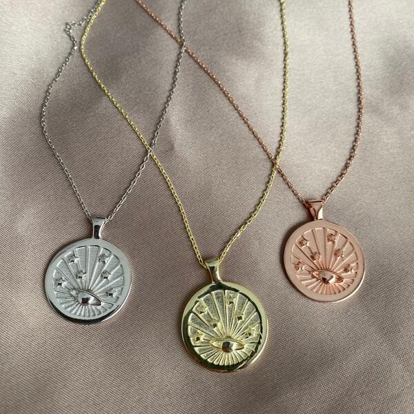 - Gezegenli Madalyon Kolye | 925 Gümüş