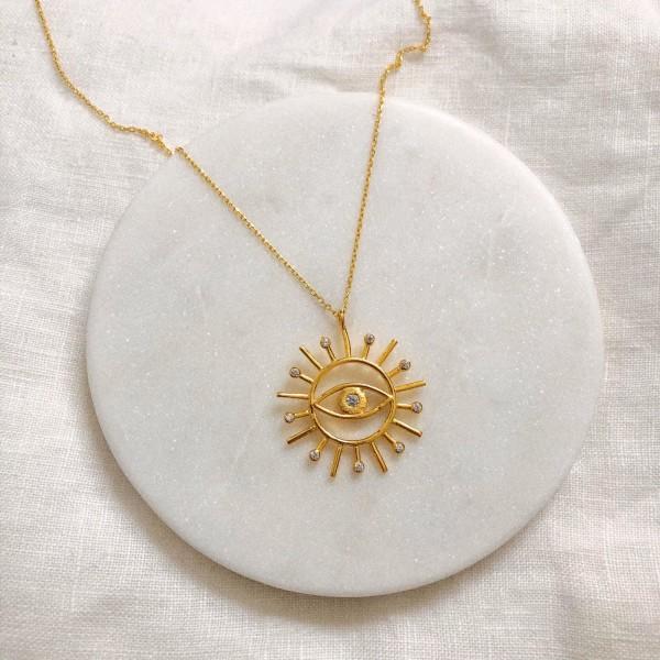 - Gözlü Güneş Kolye | 925 Gümüş