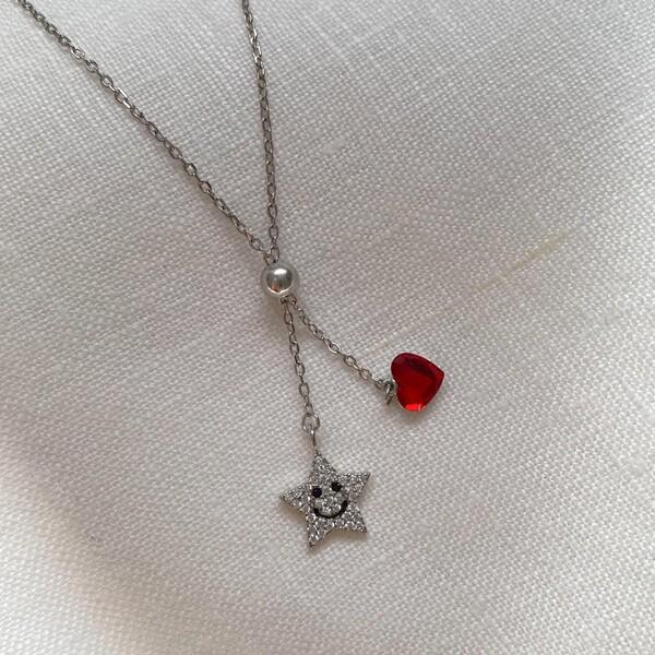 Gülen Yüzlü Yıldız Kolye   925 Gümüş - Thumbnail
