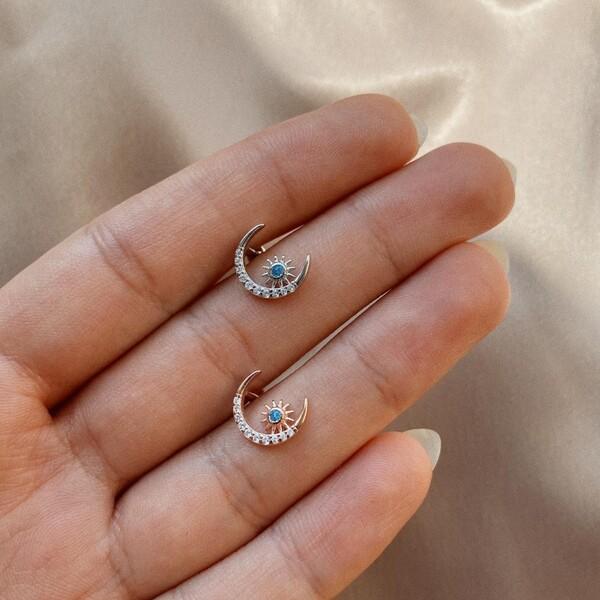 - Güneş ve Ay Figürlü Piercing | 925 Gümüş
