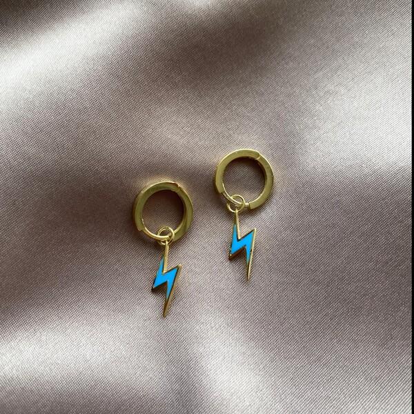 - Halkalı Mavi Mineli Şimşek Küpe | 925 Gümüş