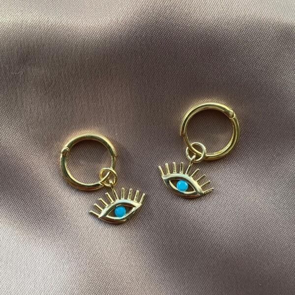 Fi Season - Halkalı Mavi Taşlı Göz Küpe | 925 Gümüş